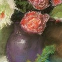 Purple Vase with Roses (pastel)
