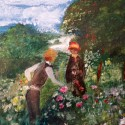 'Picking Flowers' (oil painting)