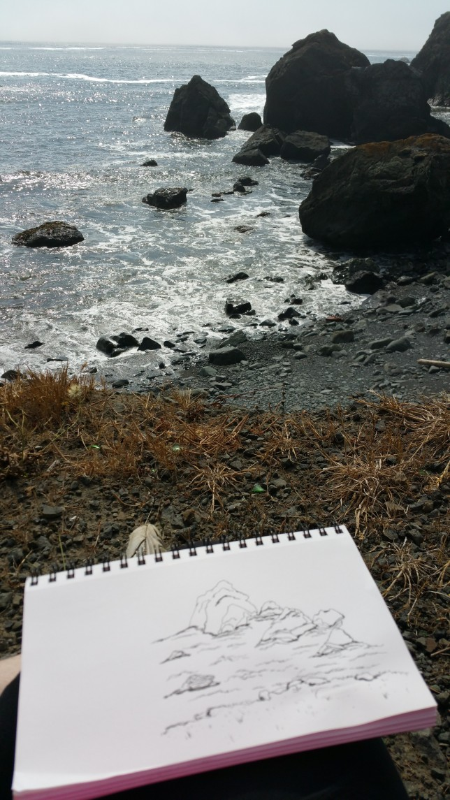 Line drawing at the beach
