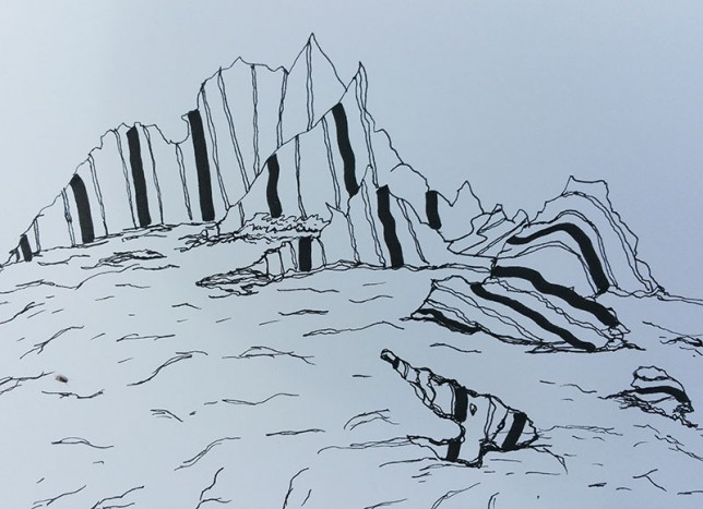 granite-rocks-pen-drawing