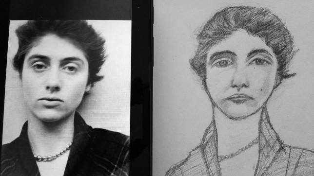 Portrait drawing alongside the reference photo I used.