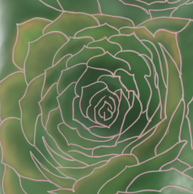 Six Succulents (digital art, version 2 / WIP)