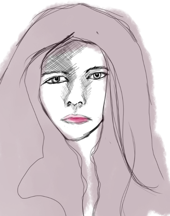 Day 7 – Girl, digital sketch (pink)