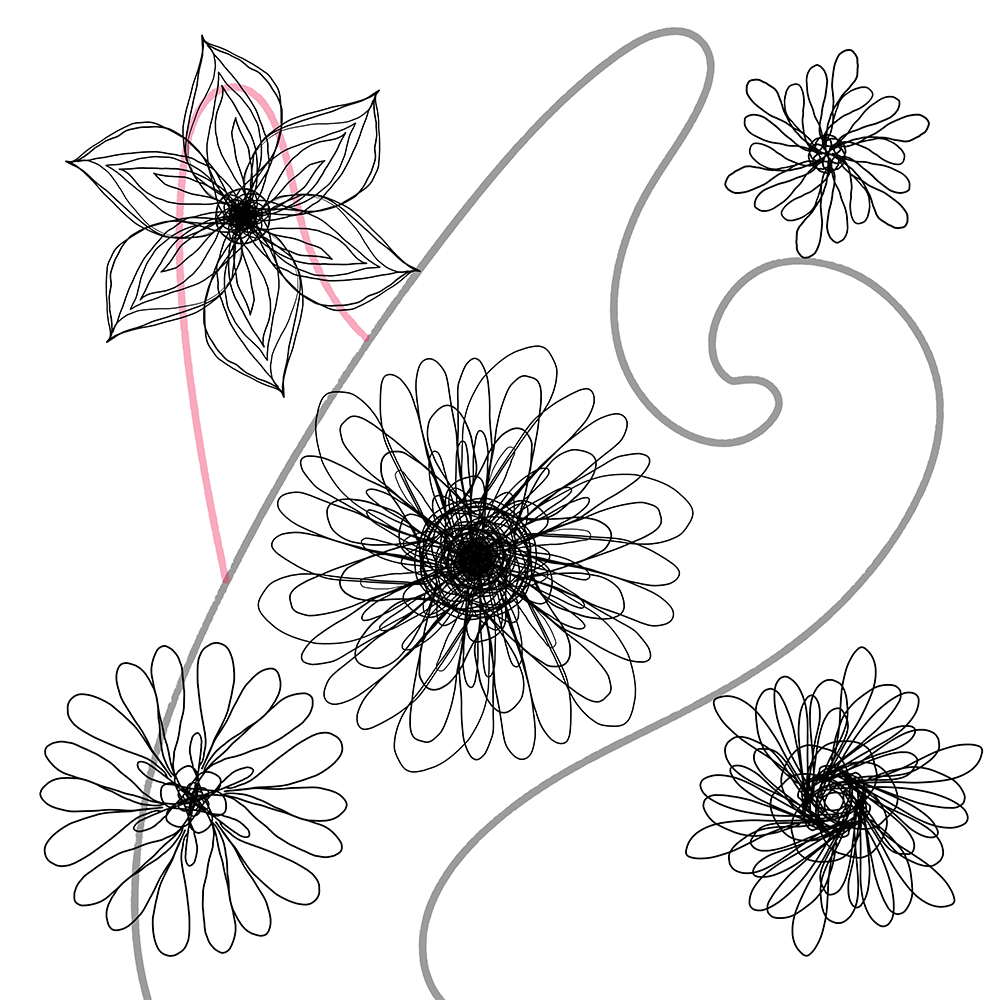Scrapbook Flowers - Black and White