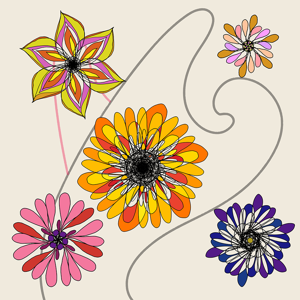 Scrapbook Flowers - Colored