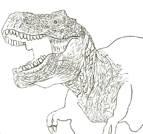 T-Rex - Line Drawing - Partial