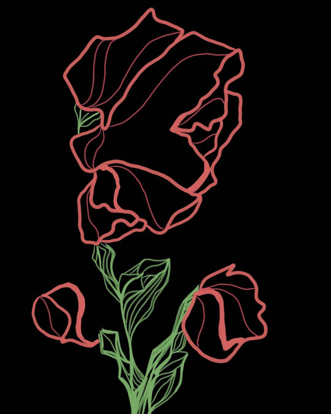 Neon Rose - Digital Drawing