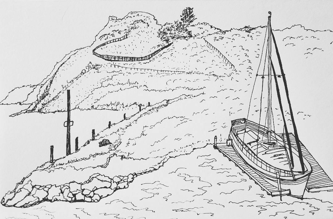 Boat in Marina - Drawing
